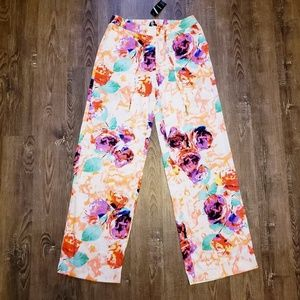 NWT BEBE GARDEN PARTY PALAZZO PANT FLORAL PRINT S